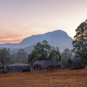 Sunrise over an iconic farmhouse in the Megalong Valley